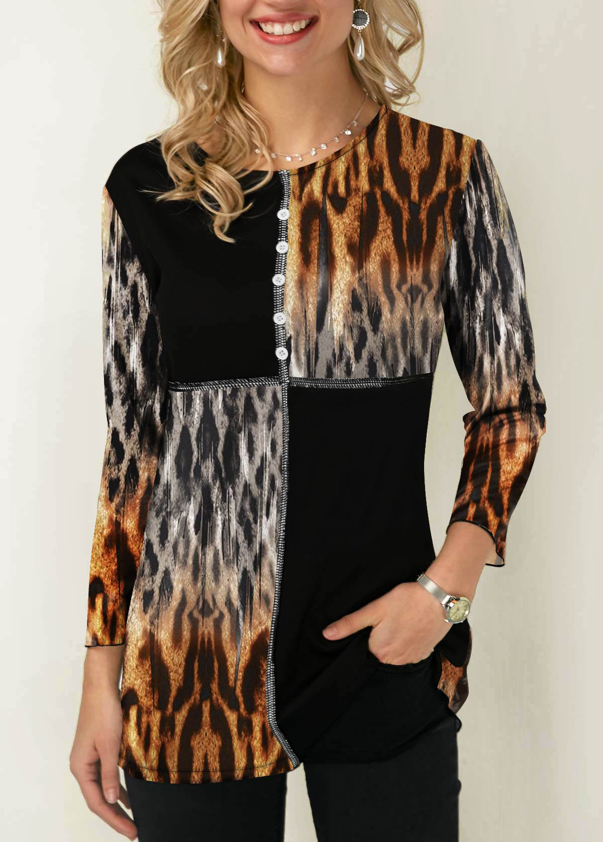 Leopard Print Contrast Panel Button Detail T Shirt