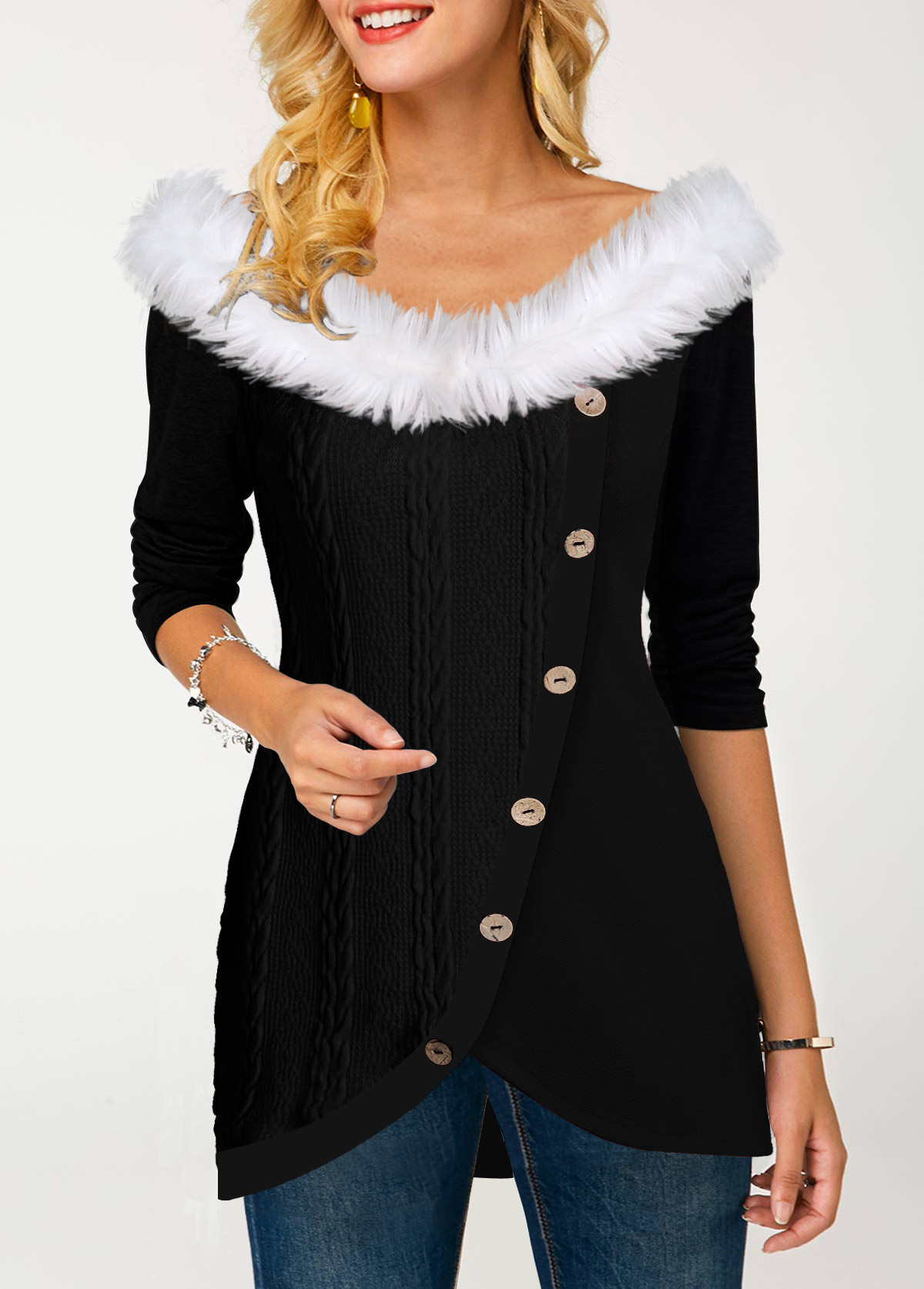 Fur Collar Inclined Button Tulip Hem T Shirt