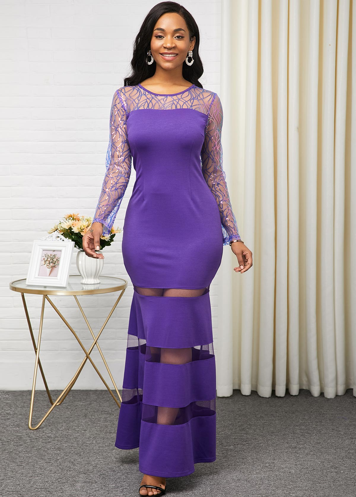 Long Sleeve Purple Mesh Pancel Dress
