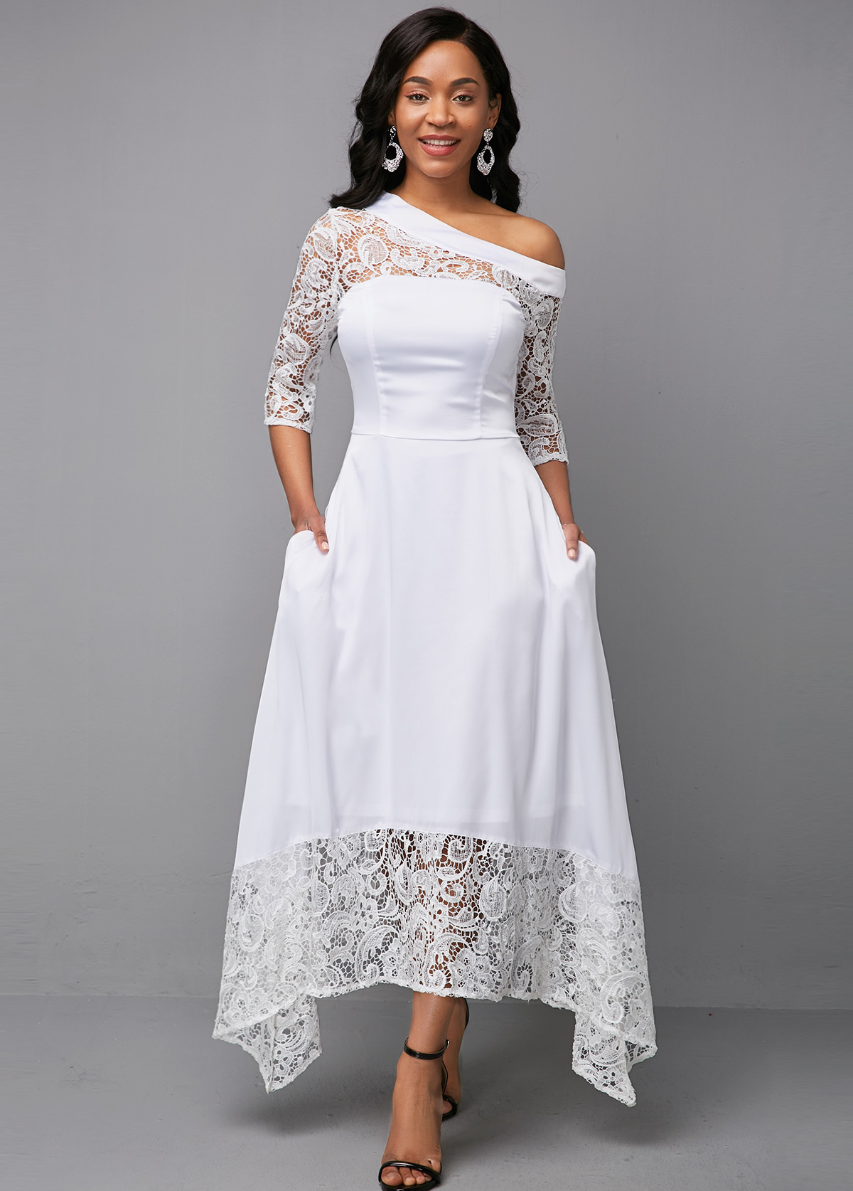 White Lace Panel Three Quarter Sleeve Dress