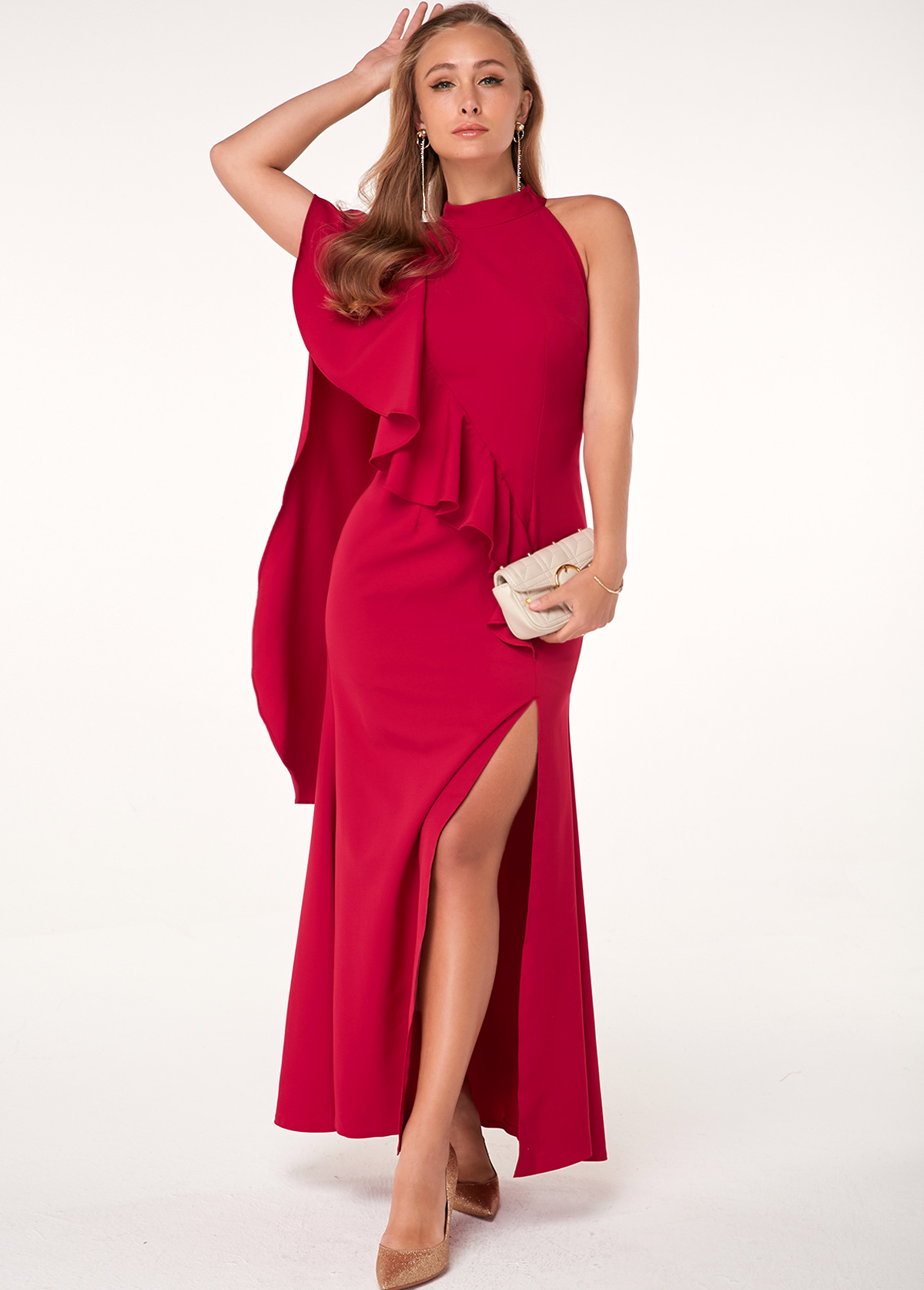 Mock Neck Red Side Slit Cape Dress