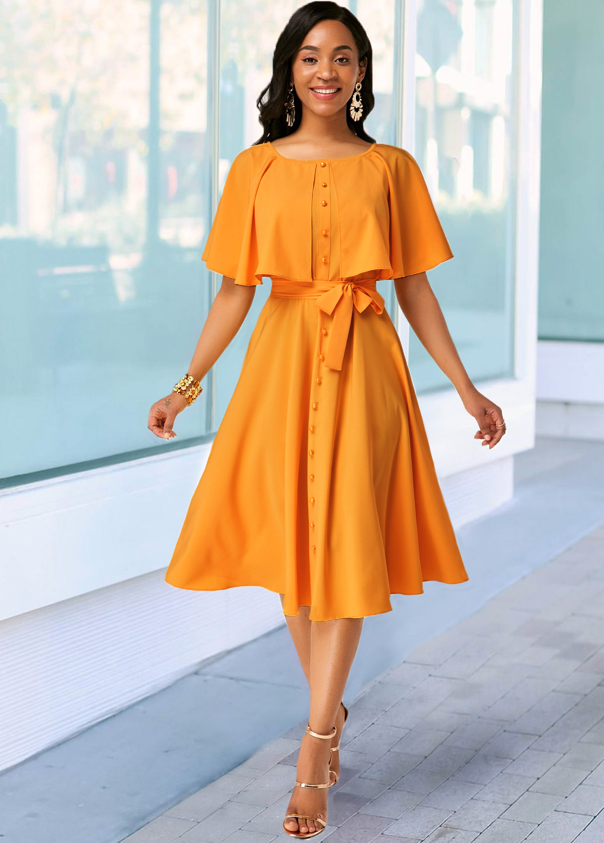 Ginger Button Detail Belted Round Neck Dress