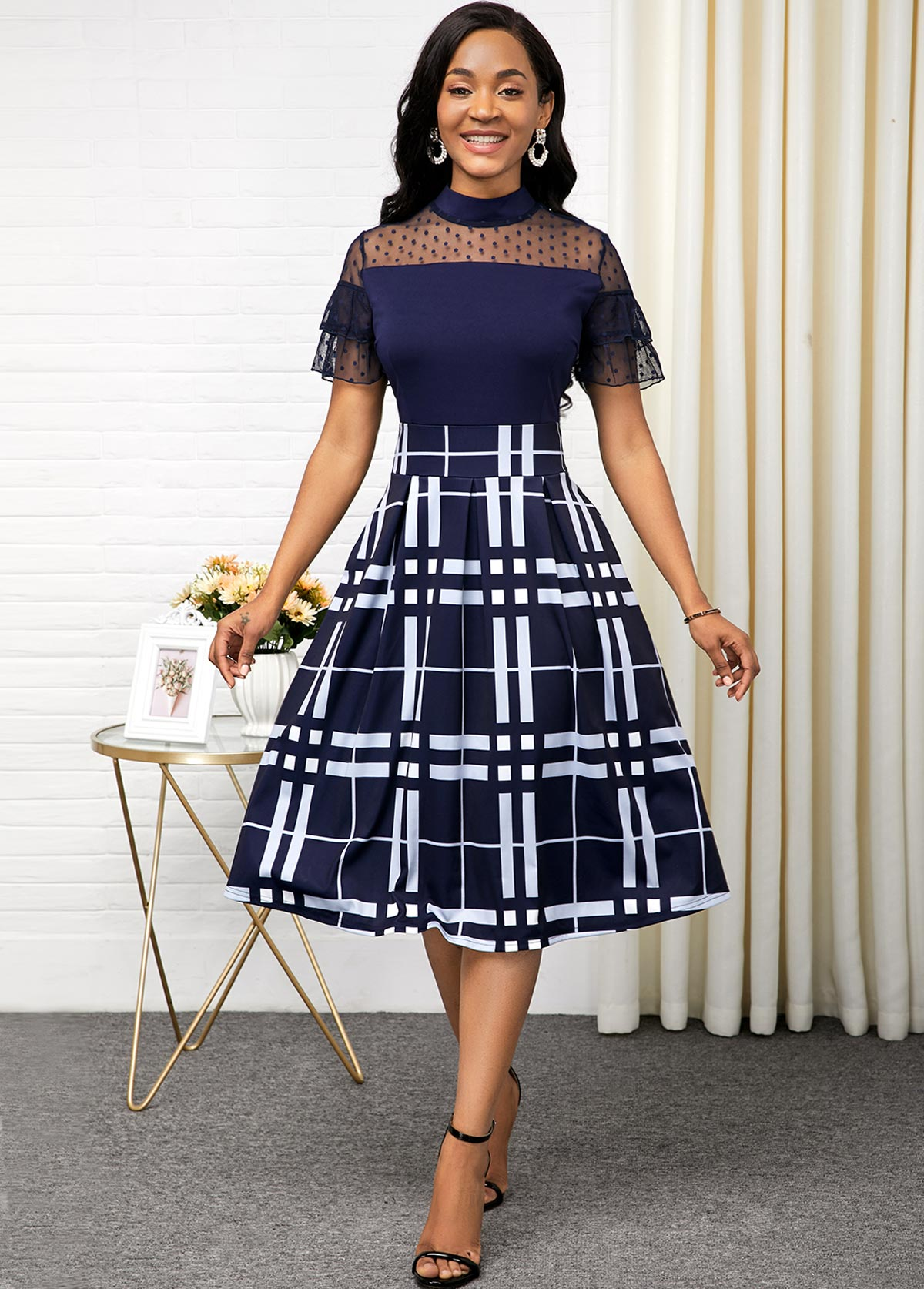 Plaid Print Lace Panel Short Sleeve Dress