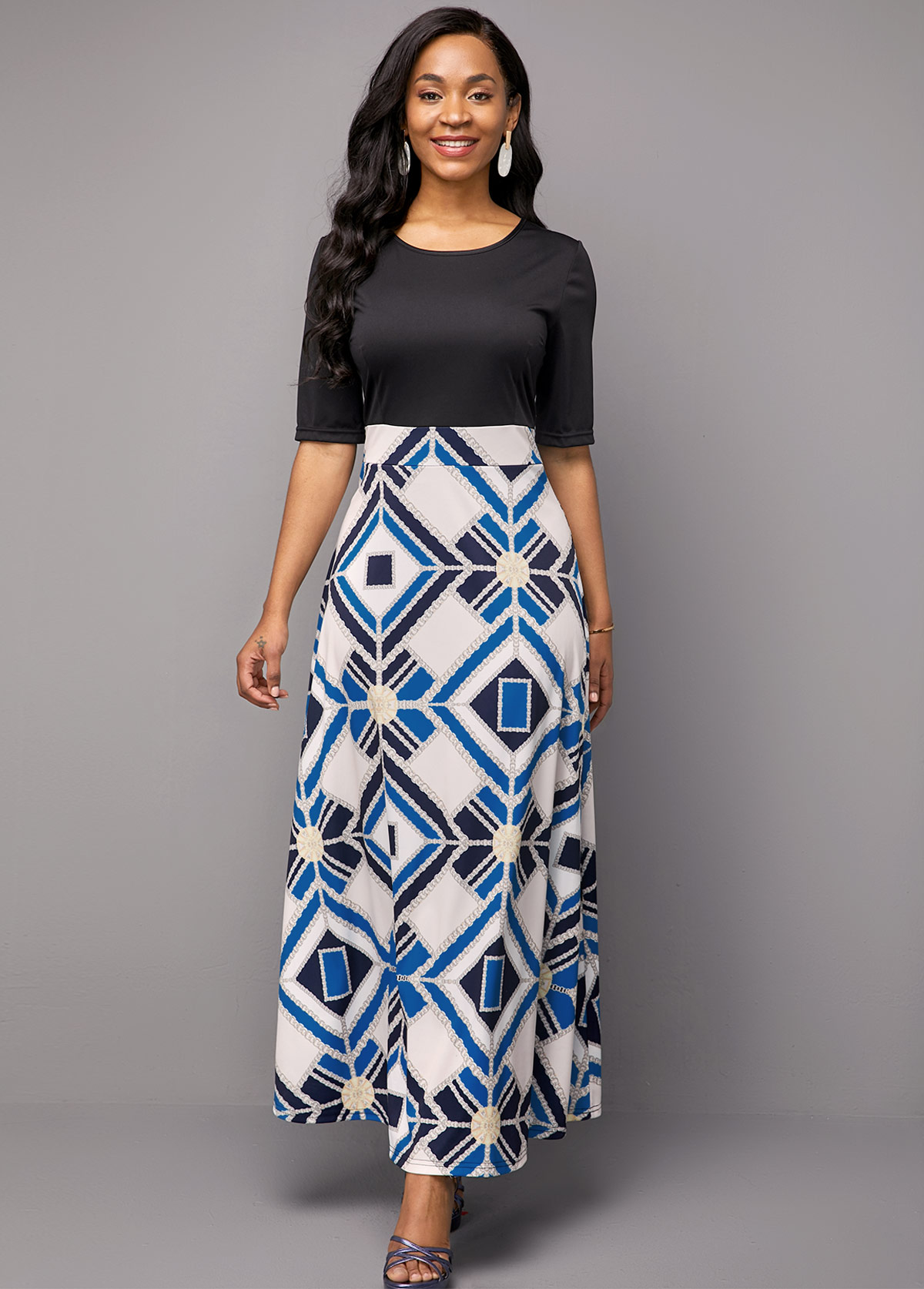 Geometric Print Round Neck Half Sleeve Dress
