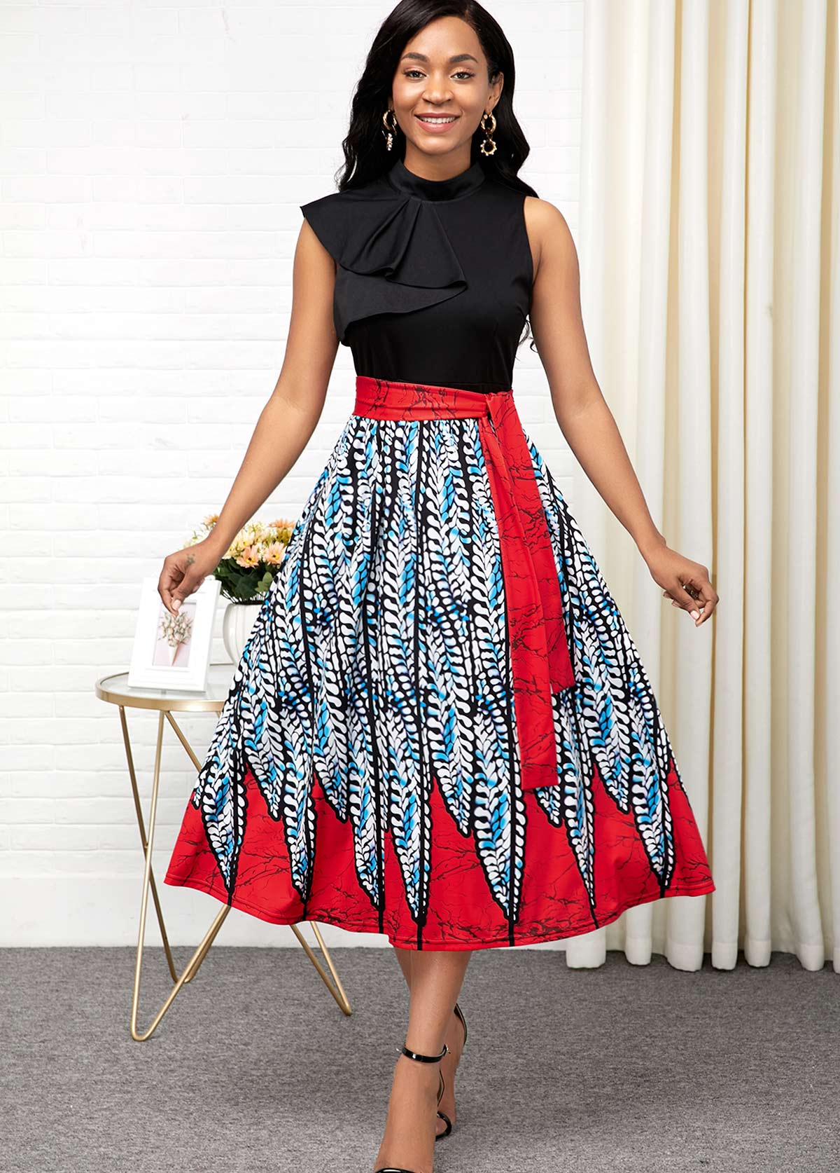 Printed Zipper Back Belted Sleeveless Dress