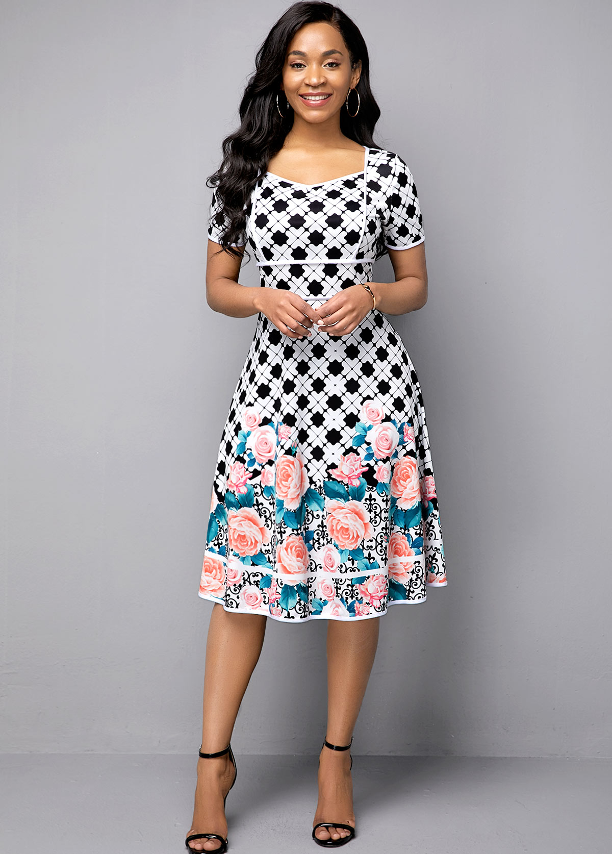 Flower Print Short Sleeve High Waist Dress