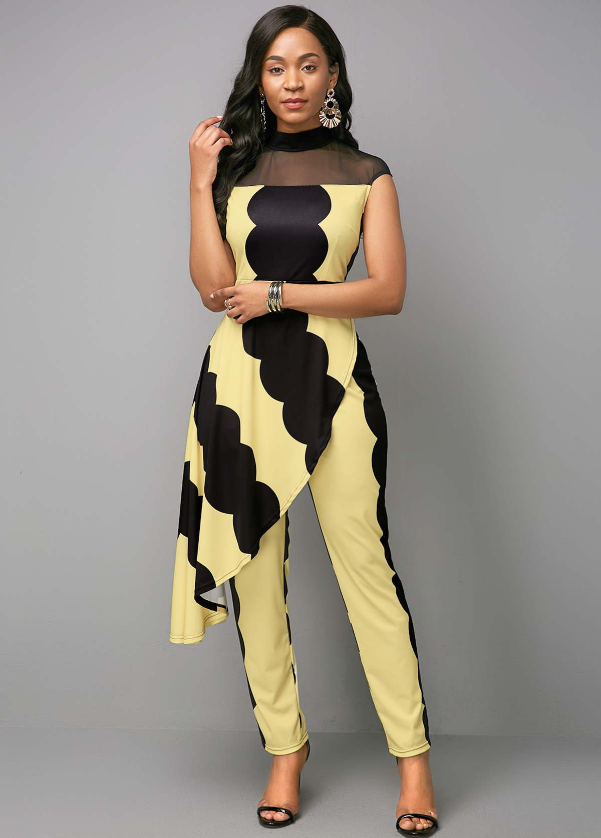 Mesh Panel Mock Neck Printed Jumpsuit