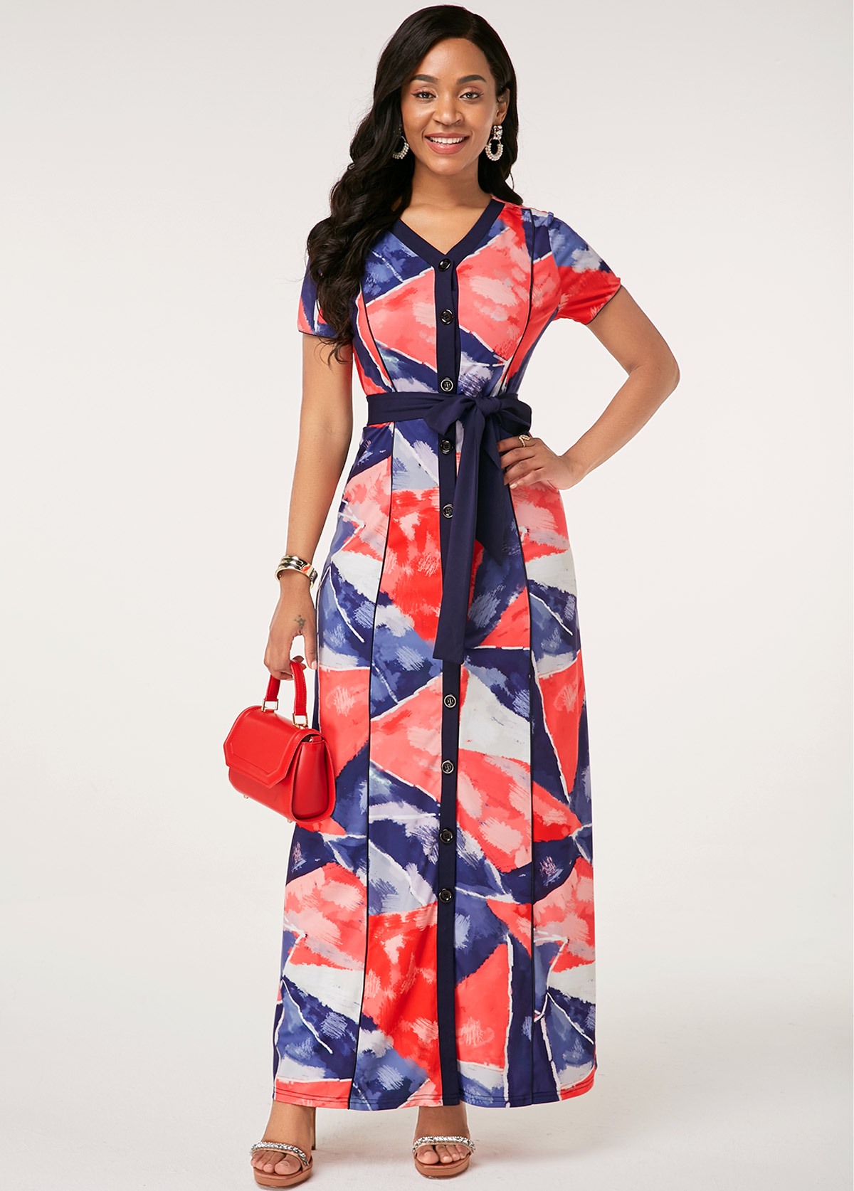 Button Up Belted Short Sleeve Printed Dress