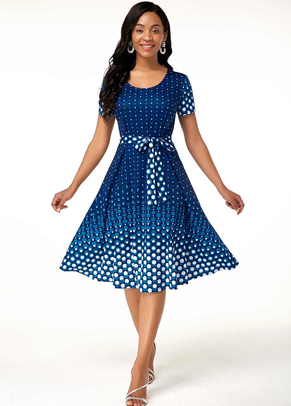 Polka Dot Print Belted Short Sleeve Dress