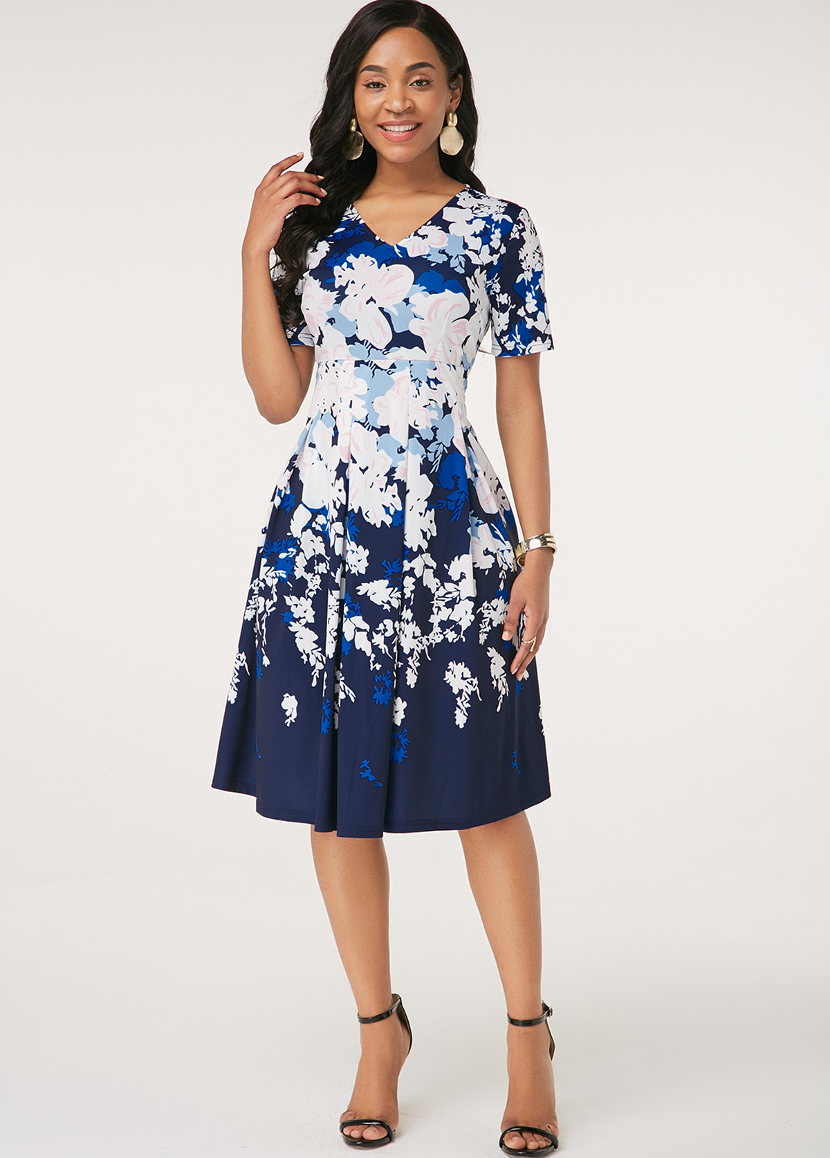 Floral Print V Neck Short Sleeve Dress