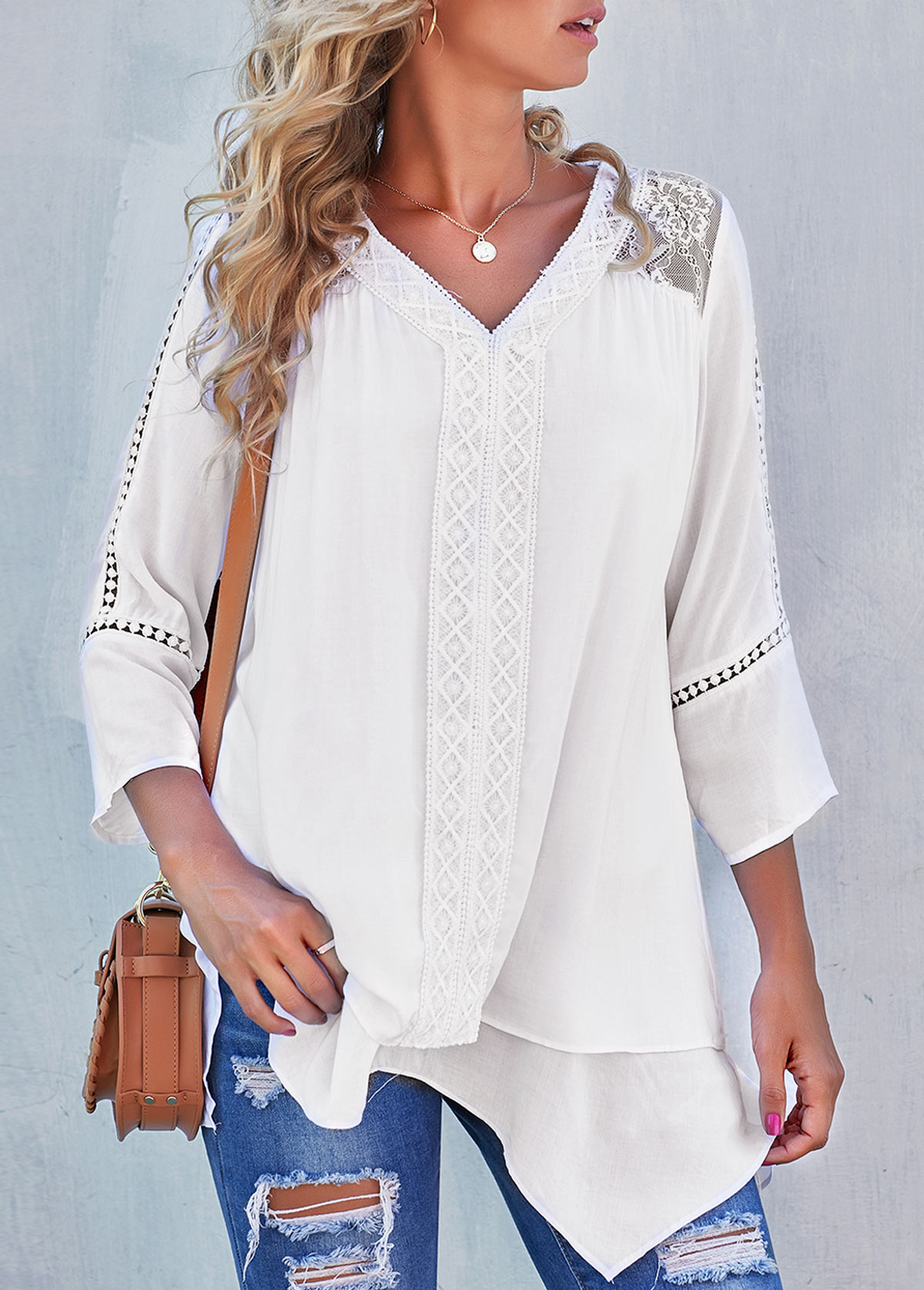 Chiffon Lace Stitching Asymmetric Hem White Blouse