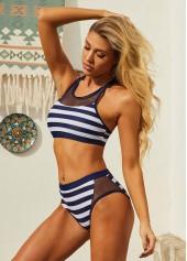 Stripe Print Color Block Wide Strap Bikini Set