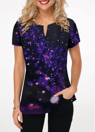 Split Neck Short Sleeve Printed T Shirt - L
