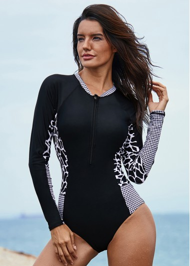 Long Sleeve Black Printed One Piece Swimwear - L