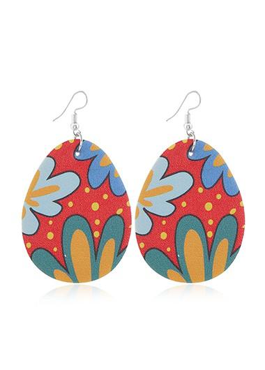 Flower Print Plastic Multi Color Earring Set - One Size