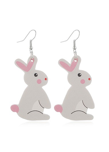 Rabbit Pattern Plastic Light Grey Earring Set - One Size