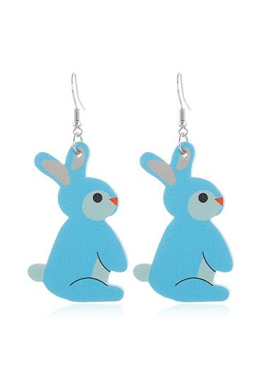 Rabbit Design Blue Plastic Earring Set - One Size