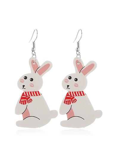 Rabbit Design White Plastic Earring Set - One Size
