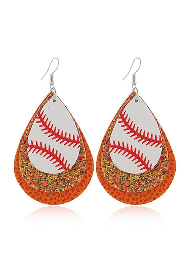 Sequin Detail Orange Layered Earring Set - One Size