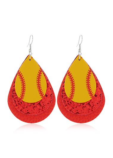Red Layered Sequin Detail Earring Set - One Size