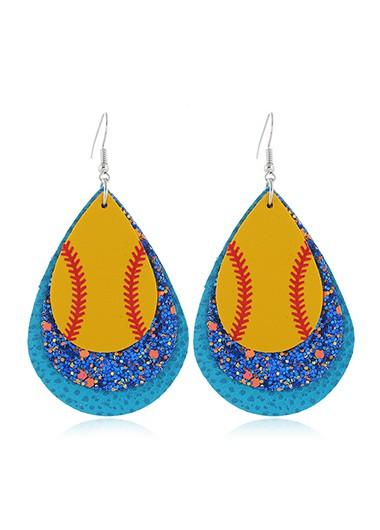 Sequin Detail Blue Plastic Earring Set - One Size