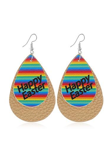 Multi Color Rainbow Print Plastic Earring Set - One Size