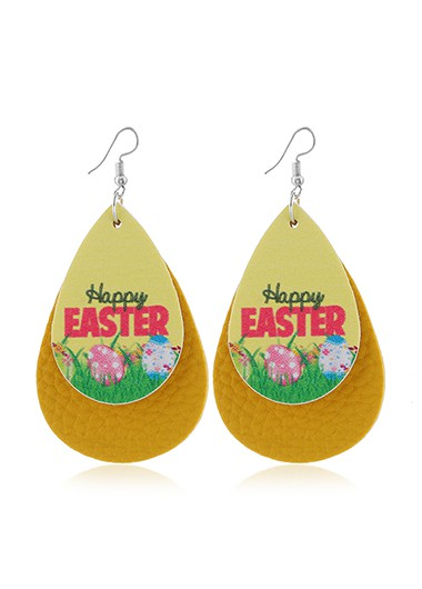 Yellow Flower Print Layered Earring Set - One Size