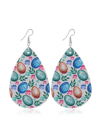 Flower Print Faux Leather Multi Color Earrings - One Size