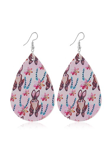 Easter Rabbit Print Faux Leather Multi Color Earrings - One Size