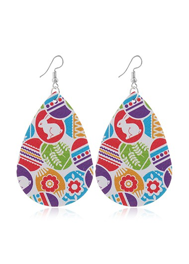 Easter Day Printed Faux Leather Earrings - One Size