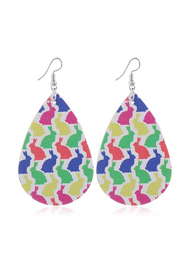 Rabbit Print Faux Leather Multi Color Earrings - One Size