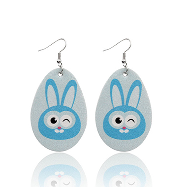 Light Blue Animal Print Plastic Earring Set