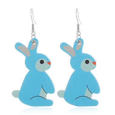 Rabbit Design Blue Plastic Earring Set