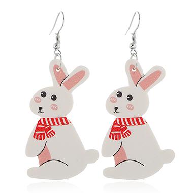 Rabbit Design White Plastic Earring Set