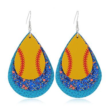 Sequin Detail Blue Plastic Earring Set
