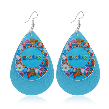 Layered Blue Flower Print Earring Set
