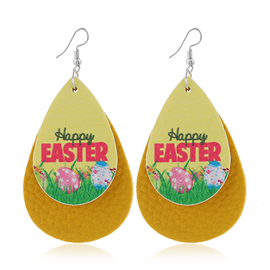 Yellow Flower Print Layered Earring Set