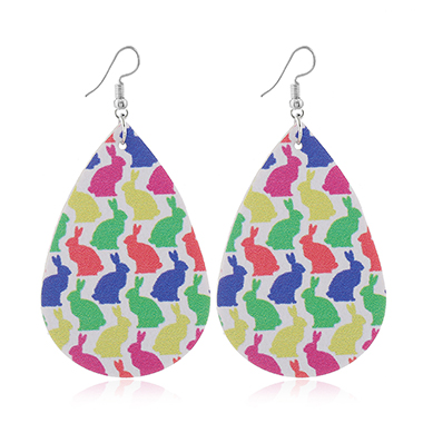Rabbit Print Faux Leather Multi Color Earrings