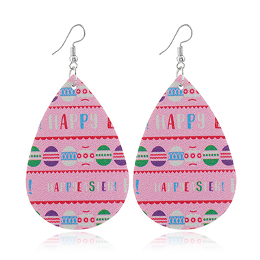 Letter Print Faux Leather Pink Earrings