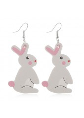 Rabbit Pattern Plastic Light Grey Earring Set