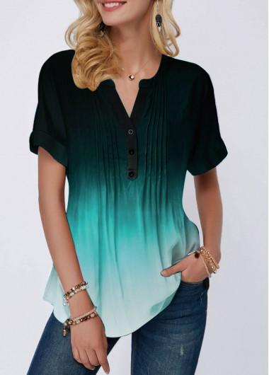 Women's Split Neck Button Detail Crinkle Chest Short Sleeve Casual Blouse Tunic Top - L