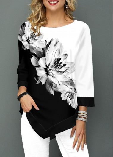 Black And White Color Block Flower Print Round Neck Casual Tunic Top - L