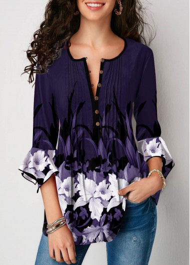 Women's Purple 3/4 Sleeve Floral Print Flare Cuff Crinkle Chest Casual Blouse Top - L