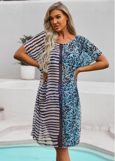 Stripe Print Round Neck Half Sleeve Cover Up - 10