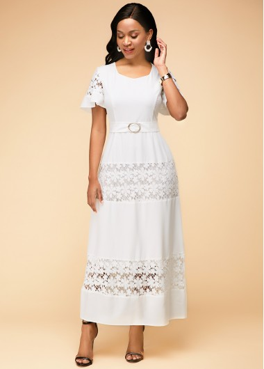 Lace Panel Round Neck Short Sleeve Maxi Dress - 10