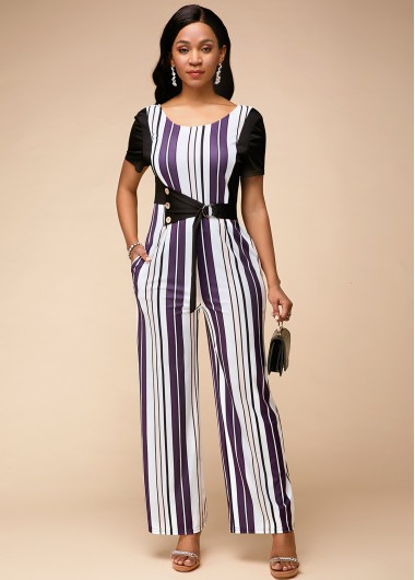 Stripe Print Round Neck Short Sleeve Jumpsuit - 10
