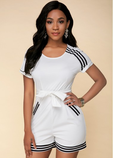 Bowknot Striped Short Sleeve White Jumpsuit - 14