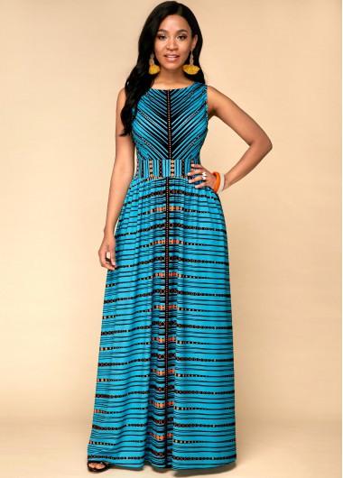 Tribal Print Sleeveless High Waist Dress - 10