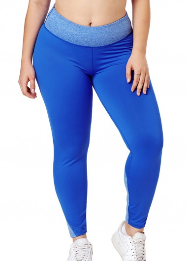 High Waist Plus Size Blue Yoga Pants - 18W