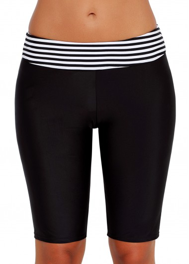 Mid Waist Black Stripe Print Shorts - XL